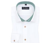 Trachtenhemd mit Karo-Muster in Weiss/gruen