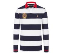 Langarm-Poloshirt in feinem Piqué in Weiss