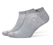 Sneaker-Socken im Doppelpack in Hellgrau