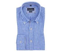 Leinenhemd, Button-Down-Kragen in Blau