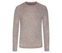 Pullover mit Brusttasche, O-Neck in Braun