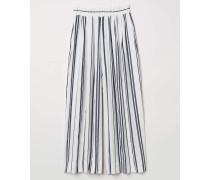 Weite Hose aus Leinenmischung - WeiB/Blau gestreift