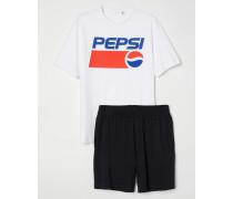 Schlafshirt und Shorts - WeiB/Pepsi