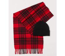 Mütze und Schal - Rot/Dunkelblau
