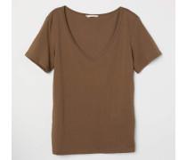 Baumwollshirt mit V-Ausschnitt - Braun
