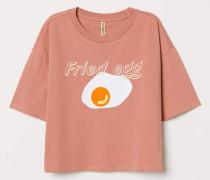 T-Shirt mit Motiv - Altrosa/Fried Egg