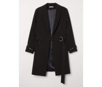 Mantel mit Gürtel - Schwarz