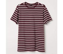 T-Shirt aus Baumwollpikee - Weinrot/WeiB gestreift