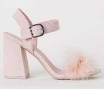 Sandaletten mit Blockabsatz - Hellrosa