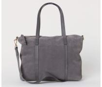 Handtasche aus Veloursleder - Dunkelgrau