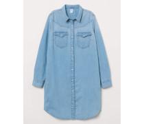 Blusenkleid aus Denim - Hellblau
