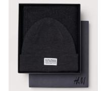Mütze und Schal - Dunkelgraumeliert