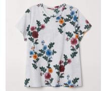 T-Shirt mit Druck - Graumeliert/Geblümt