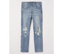 Slim High Cropped Jeans - Blau