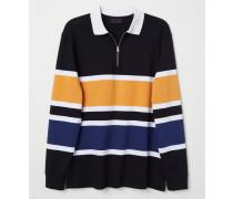 Shirt mit Kragen - WeiB/Schwarz gestreift