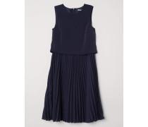 Plissiertes Kleid - Dunkelblau