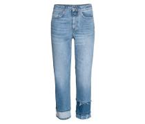 Straight High Cropped Jeans - Blau