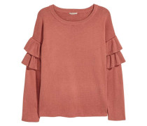 Pullover mit Volants - Rostrot