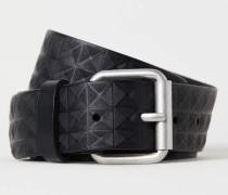 Gürtel aus geprägtem Leder - Schwarz