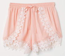 Shorts mit Spitzenborten - Hellrosa