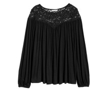 Shirt mit Spitzenpasse - Schwarz