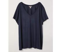 V-Shirt aus Jersey - Dunkelblau