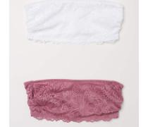 2-Pack Bandeau-BHs aus Spitze - Vintagerosa/WeiB