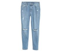 Boyfriend Slim Low Jeans - Light denim blue