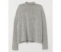 Pullover mit Perlenstickereien - Graumeliert