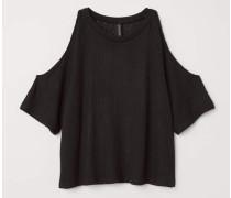 Cold-Shoulder-Shirt - Schwarz