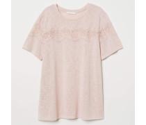 T-Shirt mit Spitze - Altrosa