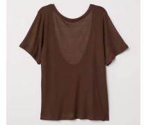 Shirt mit Rückenausschnitt - Braun