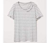 T-Shirt mit Motiv - Hellgrau/WeiB gestreift