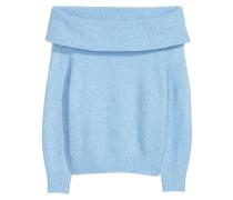 Off-Shoulder-Pullover - Hellblaumeliert