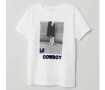 T-Shirt mit Druck - WeiB/Le Cowboy