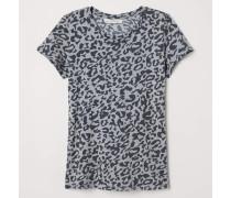 T-Shirt mit Druck - Hellgrau/Leopardenmuster
