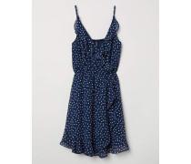 Kurzes Kleid mit Volant - Dunkelblau/Gepunktet