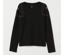 Pullover mit Stickereien - Schwarz