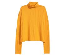 Gerippter Rollkragenpullover - Gelb