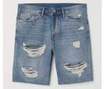 Jeansshorts Straight Fit - Blau