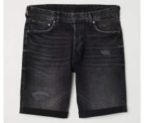 Jeansshorts Slim - Schwarz Washed out