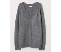 Pullover mit V-Ausschnitt - Graumeliert