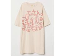 Oversize-T-Shirt mit Druck - Hellbeige/The Simpsons