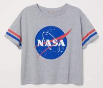 T-Shirt mit Druck - Graumeliert/NASA