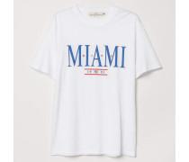 T-Shirt mit Druck - WeiB/Miami