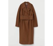 Langer Mantel aus Wollmix - Camel