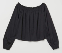 Off-Shoulder-Bluse - Schwarz