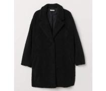 Mantel aus Teddyfleece - Schwarz