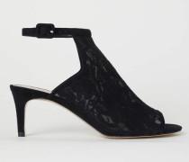 Sandaletten mit Spitze - Schwarz