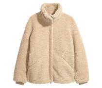 Jacke aus Teddyfleece - Beige
